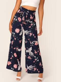 Red-crowned Crane and Floral Paperbag Waist Palazzo Pants