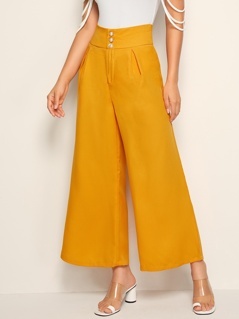 Wide Band Waist Pleated Palazzo Pants
