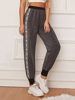 Letter Tape Side Glitter Tapered Pants