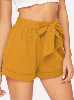 Bow Tie Waist Rolled Hem Shorts