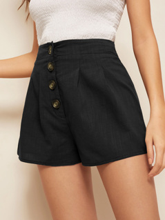 Buttoned Fly Pleated Detail Shorts