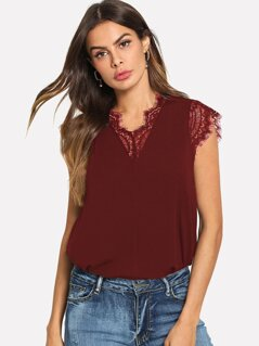 Lace Trim Gathered Back Flowy Top