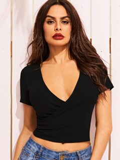 Solid Plunging Neck Wrap Top