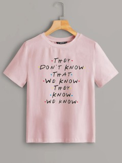 Short Sleeve Slogan Print Tee
