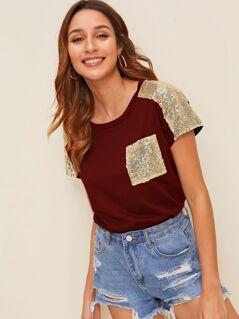 Contrast Sequin Shoulder & Pocket T-shirt