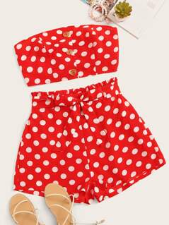 Button Front Polka Dot Crop Tube Top & Belted Shorts Set