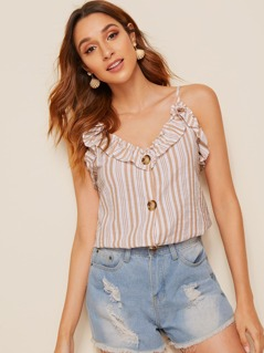Ruffle Foldover Button Front Striped Cami Top