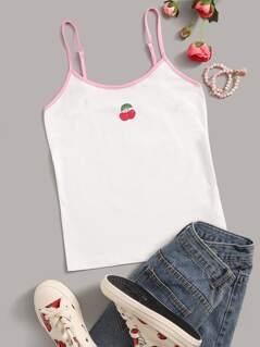 Contrast Binding Cherry Print Cami Top