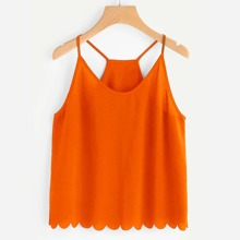 Neon Orange Overlap Split Back Scalloped Cami Top