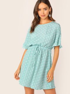 Polka Dot Ruffle Cuff Belted Flare Dress