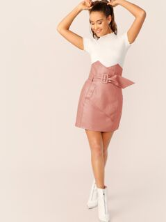 Notch High Waist Leather Look Buckle Belted Skirt