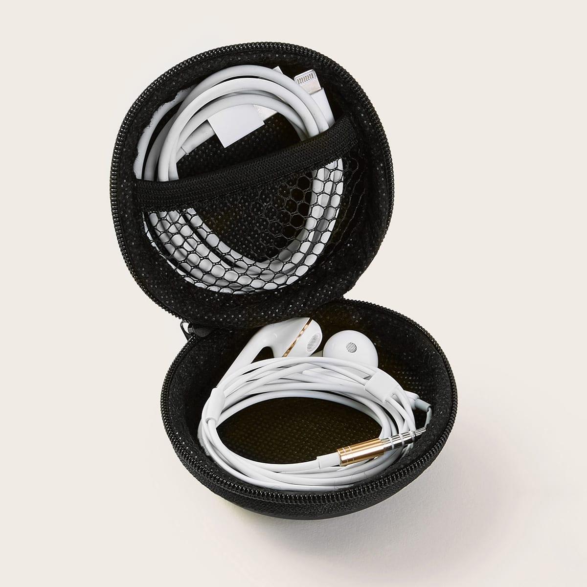 Kabel en headset ronde opbergtas