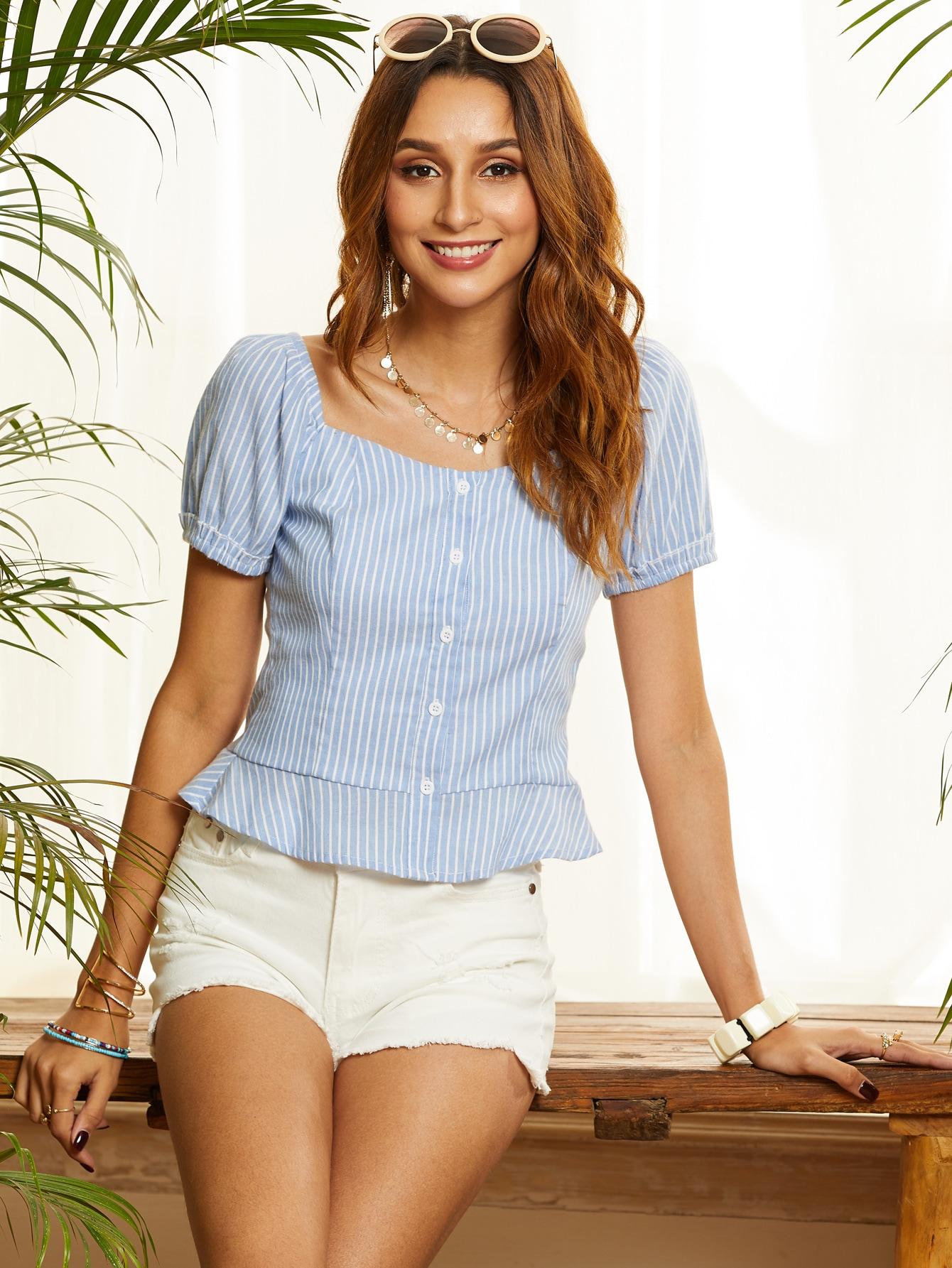 Фото - Полосатая блуза от SheIn синего цвета