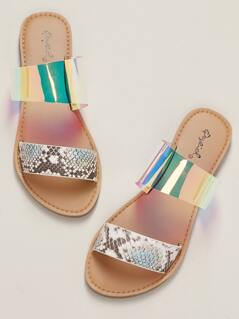 Snakeskin And Iridescent Double Band Slide Sandals