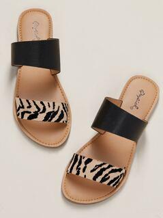 Tiger Stripe Double Band Flat Slide Sandals