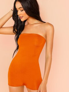 Neon Orange Form Fitted Tube Romper