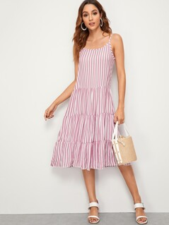 Striped Print Layered Ruffle Hem Slip Dress