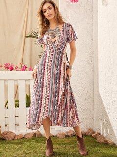 Tribal Print Flutter Sleeve Wrap Knotted Dress