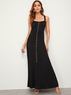 Button Front Maxi Slip Dress