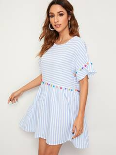 Striped Pompom Detail Smock Dress