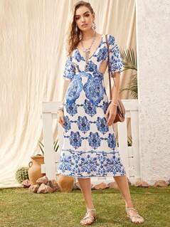 Tribal Print M-slit Hem Cut-out Backless Dress