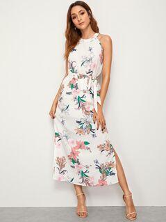 Floral Print Split Hem Belted Halter Dress