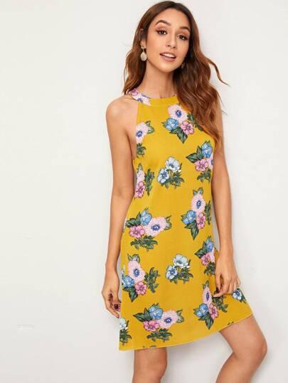 SheIn / Floral Print Halter Neck Tunic Dress