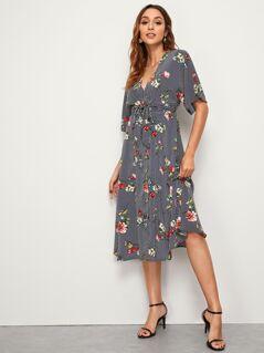 Floral & Striped Print Belted Dress