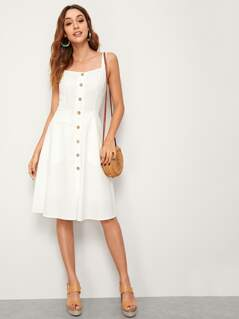 Button Front Slant Pocket Midi Slip Dress