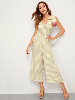 Striped Knotted Strap Pompom Detail Shirred Jumpsuit