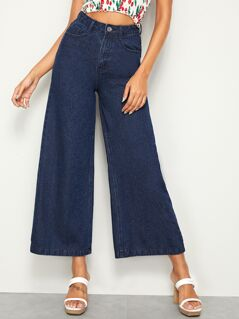 Solid Wide Leg Jeans