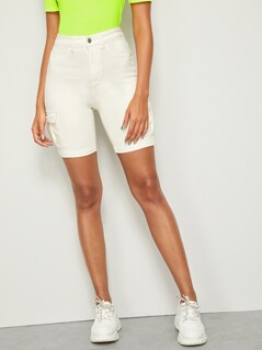Solid Flap Pocket Bermuda Denim Shorts