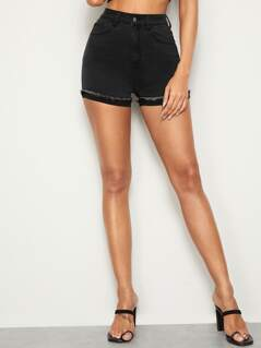 Raw Hem Cuffed Skinny Denim Shorts