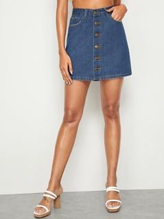 Pocket Patched Button Up Denim Skirt