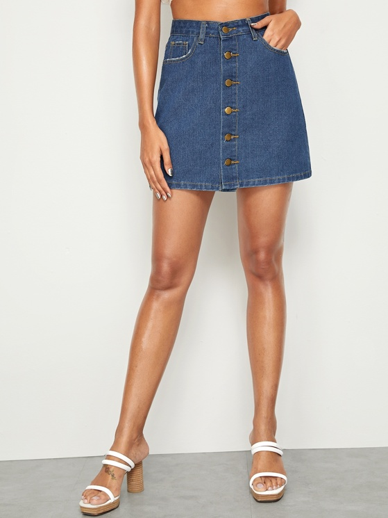 1ff8f174a59 Pocket Patched Button Up Denim Skirt   MakeMeChic.COM
