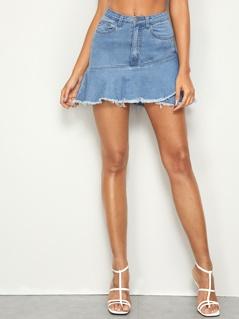 Raw Hem Flounce Denim Skirt