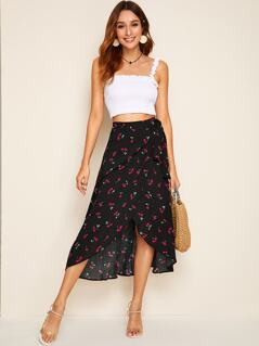 Asymmetrical Hem Wrap Belted Cherry Print Skirt