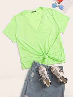Plus Neon Green Solid V-Neck Top