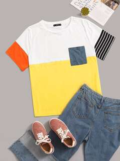 Plus Pocket Patched Colorblock Striped Tee