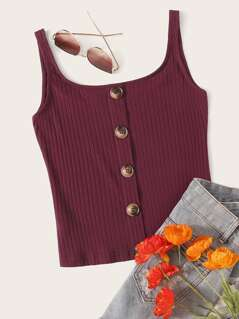 Buttoned Front Rib-knit Tank Top