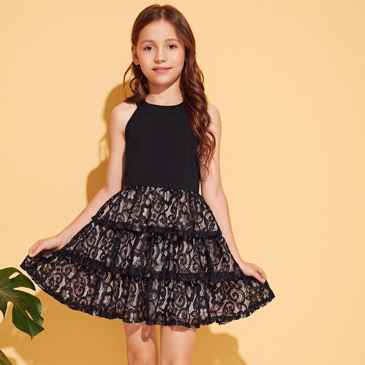 SHEIN / Mädchen Kleid mit Spitzen und Neckholder