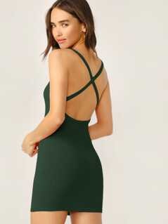 Criss-cross Backless Rib-knit Bodycon Dress