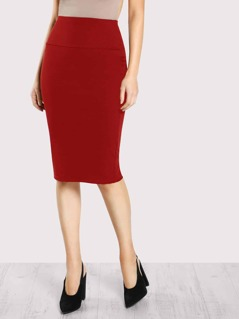 Solid Wide Waistband Bodycon Pencil Skirt