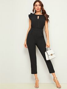 Tiered Layer Choker Neck Jumpsuit