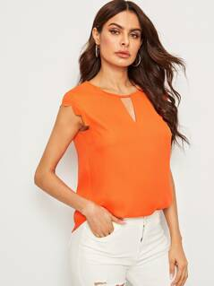 Neon Orange V Notch Front Scallop Trim Curved Hem Top