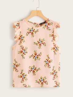Frilled Armhole Floral Print Top