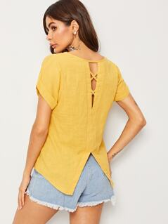 Crisscross Back Slit Hem Blouse