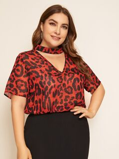 Plus Keyhole Back Choker Neck Leopard Top