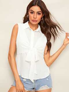 Solid Tie Front Sleeveless Shirt