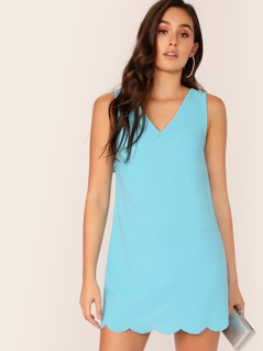 Double V-Neck Scallop Hem Dress